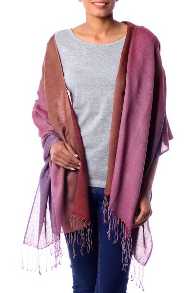 Silk and wool shawl, 'Twilight Shimmer' - Handcrafted Wrap Silk Wool Blend Shawl