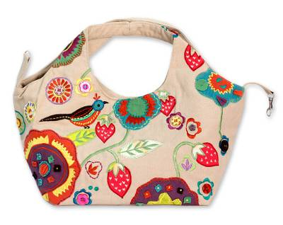 Cotton hobo handbag, 'Patna Partridge' - Embroidered Cotton Handbag