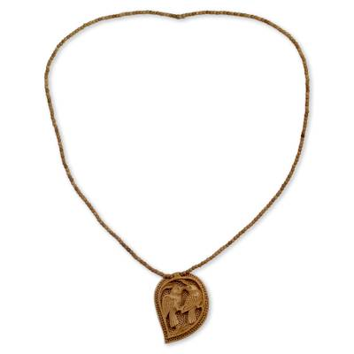 Hand Carved Wood Necklace from India Jewelry Collection