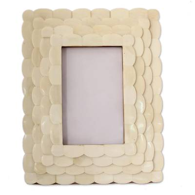 Bone photo frame, 'Lotus Blossom' (4x6) - Handcarved Bone Photo Frame (4x6)