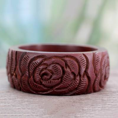 Wood bangle bracelet, 'Brown Rose Blossom' - Wood bangle bracelet