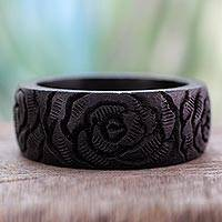Wood bangle bracelet, 'Black Rose Blossom' - Wood bangle bracelet