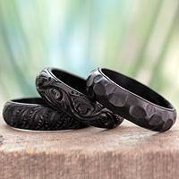 Wood bangle bracelets, 'Glorious Goa' (set of 3)