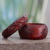 Wood bangle bracelets, 'India Romance' (pair) - Artisan Crafted Floral Mango Wood Bangle Bracelets (Pair)