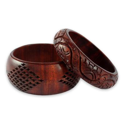 Wood bangle bracelets, 'India Romance' (pair) - Artisan Crafted Floral Mango Wood Bangle Bracelets (Pair)