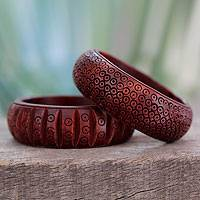 Wood bangle bracelets, 'Ethnic India' (pair) - Pair of Indian Hand Carved Mango Wood Bangle Bracelets