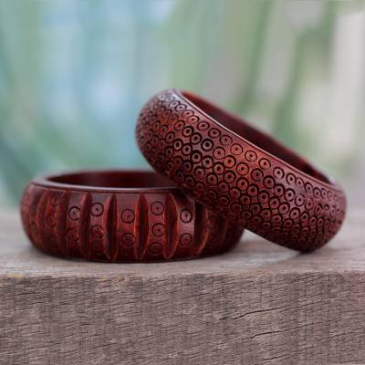 Wood bangle bracelets, 'Ethnic India' (pair) - Wood Bangle Bracelets Hand Carved in India (Pair)
