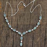 Chalcedony Y necklace, 'Elusive Dream' - Unique Handmade y Chalcedony and Sterling Indian Necklace