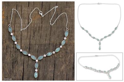 Chalcedony Y necklace, 'Elusive Dream' - Artisan Crafted Silver and Chalcedony Y Necklace