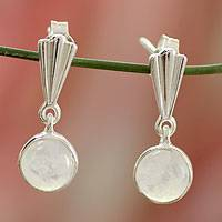 Moonstone dangle earrings, 'Mumbai Serenade' - Moonstone dangle earrings