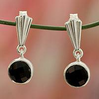 Onyx dangle earrings, 'Mumbai Serenade' - Hand Made Modern Sterling Silver and Onyx Earrings