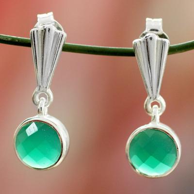 Sterling silver dangle earrings, 'Mumbai Serenade' - Hand Made Sterling Silver and Onyx Earrings