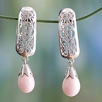 Sterling silver floral earrings, 'Mughal Melody' - Silver and Chalcedony Earrings