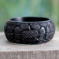 Wood bangle bracelet, 'Black Sunflower' - Handmade Wood Bangle Bracelet
