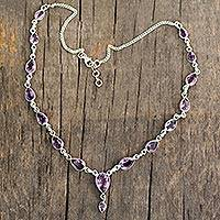Amethyst Y-necklace, 'Precious Tears' - Breathtaking Amethyst and Sterling y Necklace from India