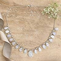 Moonstone pendant necklace, 'Luminous Light' - Hand Made Moonstone jewellery Sterling Silver Necklace