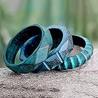 Wood bangle bracelets, 'Turquoise Treasure' (set of 3) - Indian Turquoise Mango Wood Bangle Bracelets
