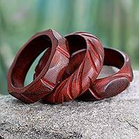 Wood bangle bracelets, 'Indian Romance' (set of 3)