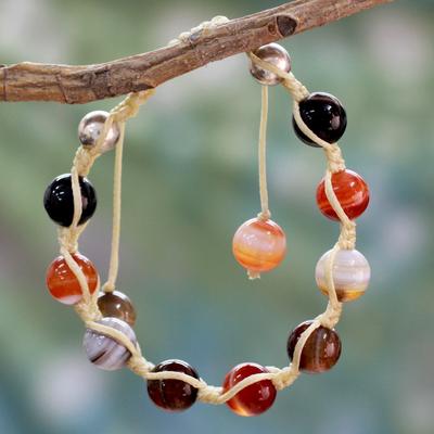 Agate Shambhala-style bracelet, 'Indian Sun' - Handcrafted Agate Shambhala-style Bracelet