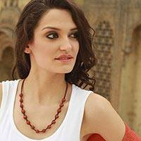 Agate Shambhala-style necklace, 'Rajasthani Red' - Fair Trade Cotton Beaded Agate Necklace