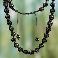 Onyx Shambhala-style necklace, 'Rajasthani Night' - Hand Made Cotton Shambhala-style Onyx Necklace