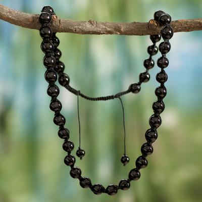 Onyx Shambhala-style necklace, 'Rajasthani Night' - Hand Made Cotton Shambhala-style Onyx Necklace