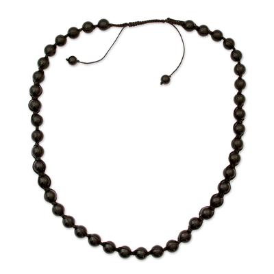 Hand Made Cotton Shamballa Onyx Necklace
