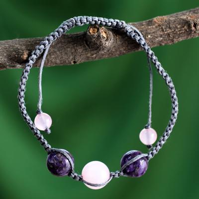 Rose quartz and charoite Shambhala-style bracelet, 'Serene Joy' - Indian Cotton Cord Charoite and Rose Quartz Bracelet