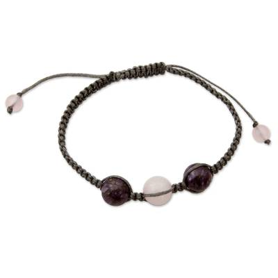 Indian Cotton Cord Charoite and Rose Quartz Bracelet