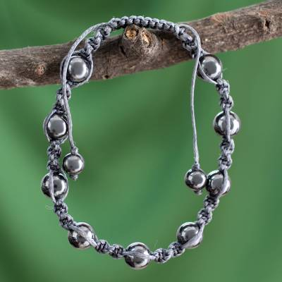 Hematite beaded bracelet, 'Quiet Peace' - Hand Crafted Cotton Beaded Hematite Shambhala-style Bracelet