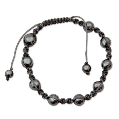 Hand Crafted Cotton Beaded Hematite Shamballa Bracelet