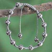 Hematite Shambhala-style bracelet, 'Peace in the Night' - Indian Artisan-Designed Hematite Shamballa Bracelet
