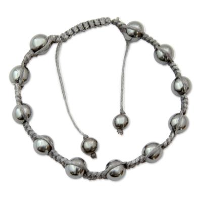 Hematite Shambhala-style bracelet, 'Peace in the Night' - Hematite Shambhala-style Bracelet Handmade in India