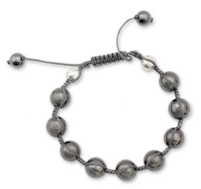 Cotton and Hematite Bracelet Shamballa Meditation Jewelry