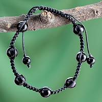 Onyx Shambhala-style bracelet, 'Song in the Night' - Unique Onyx Shambhala-style Bracelet