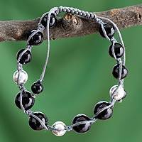 Onyx Shambhala-style bracelet, 'Moonlight Prayer' - Artisan Crafted Onyx and Silver Shambhala-style Bracelet