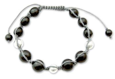 Artisan Crafted Onyx and Silver Shamballa Bracelet