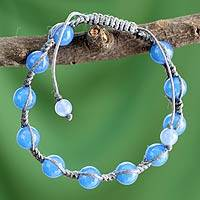 Chalcedony Shambhala-style bracelet, 'Eternal Harmony' - Unique Beaded Shamballa Bracelet from India