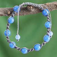 Chalcedony Shambhala-style bracelet, 'In Harmony'