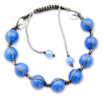 Sterling Silver Cotton Shamballa Chalcedony Bracelet