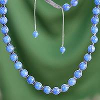 Chalcedony Shambhala-style necklace, 'Spirit of Peace' - Shambhala-style Cotton and Chalcedony Beaded Necklace