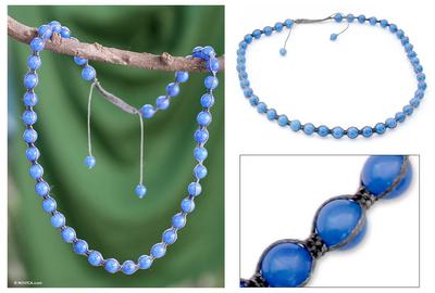 Chalcedony Shambhala-style necklace, 'Spirit of Peace' - Shambhala-style Cotton and Chalcedony Beaded Necklace