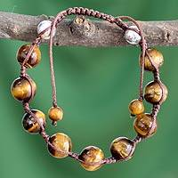 Tiger's eye Shambhala-style bracelet, 'Light and Warmth' - Handcrafted Tiger's Eye Shambhala-style Bracelet
