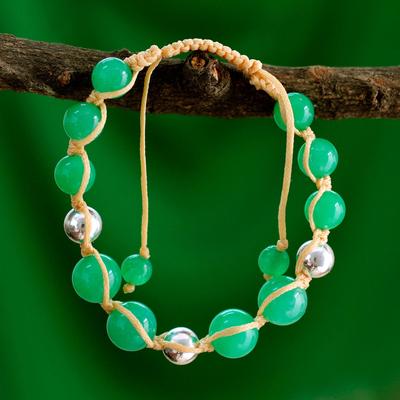 Quartz beaded macrame bracelet, 'Toward Joy' - Handmade Jade Shambhala-style Bracelet