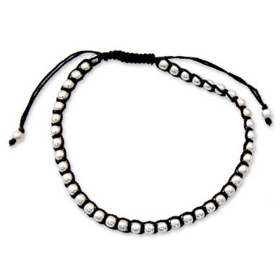 Sterling silver Shambhala-style bracelet, 'Dewdrop Glow' - Fair Trade Cotton Sterling Silver Cord Bracelet from India