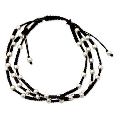 Sterling silver beaded bracelet, 'Delhi Casual' - India Silver and Cotton Handcrafted Macrame Bracelet
