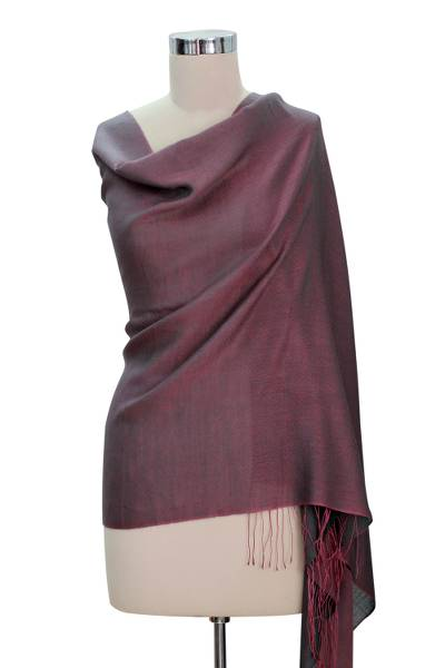 Silk and wool reversible shawl, 'Violet Orchid' - Silk Shawl Artisan Crafted Wrap