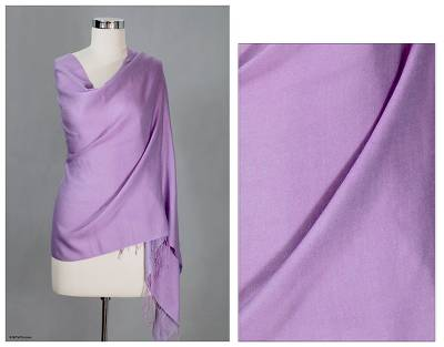 Silk and wool shawl, 'Lavender Orchid' - Silk Wool Shawl Wrap from India