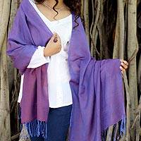 Silk and wool reversible shawl, 'Purple Orchid' - Reversible Shawl Silk Wool Handloomed Wrap