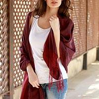 Silk and wool reversible shawl, 'Maroon Orchid' - Reversible Silk and Wool Wrap Hand Loomed Shawl India